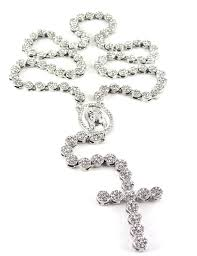 black silver rosary necklace images Iced out 36 39 silver rosary cluster simulated diamond chain jpg