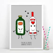 cartoon alcohol bottle kindred spirits u0027 personalised couples print by of life u0026 lemons