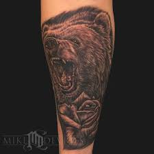 awesome black bear head tattoo stencil by pastel samurai