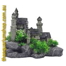 white castle on rock ornament 30cm the aquarium shop australia