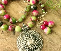 sterling silver necklace set images Ethnic pink green gemstone sterling silver necklace set online in jpg