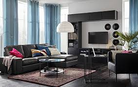 Leather And Fabric Sofa In Same Room Living Room Furniture Inspiration Ikea