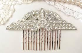 vintage comb antique deco bridal hair comb rhinestone fan downton