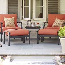 Orange Patio Cushions by Decorating Loveseat With Red Lowes Patio Cushions Plus Table For