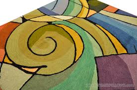 Miro 5ft X 7ft Wool by Kandinsky Green Purple Wool Rug Wall Tapestry Hand Embroidered