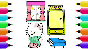 how to draw hello kitty u0027s bedroom coloring pages for kids drawing