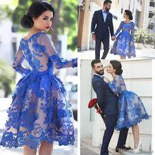 2017 royal blue lace appliques illusion long sleeves cocktail