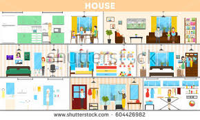 Bedroom And Kitchen Messy Room Where Young Family Little Stock Vector 668292232