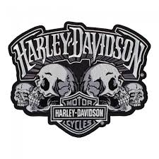 harley davidson skull text subdued bar shield patch harley