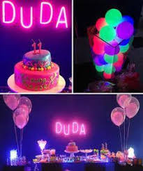 Glow In The Dark Party Decorations Ideas Neon Flagging Tape On Hulla Hoop Glow Party Decoration Fnid More