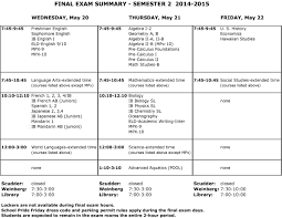 revised high final exam schedule mid pacific institute