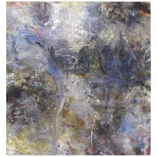 abstract ethereal large oil painting on canvas by noted artist rachel budd for