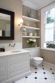 Floating Cabinets Bathroom Built In Bathroom Shelves Bathroom Traditional With Satin Nickel