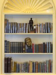 file bookcase in recreation of oval office clinton presidential