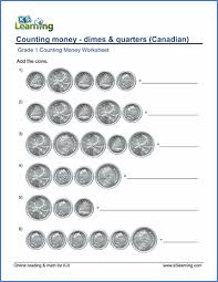 grade 1 math worksheet counting money dimes and quarters