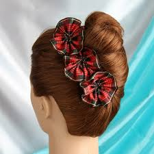 plaid flower blooms out of ribbon vintage christmas hair