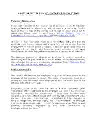 Notice Of Employee Termination by Basic Principles Voluntary Resignation Employment Labour Law