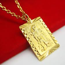 fine jewelry necklace store images Do not fade imitation gold pendant guan guan yu gold plated 999 jpg