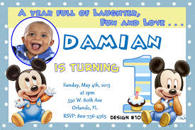 blue stripe mickey mouse baby 1st birthday invitation template