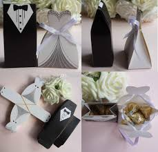 and groom favor boxes tuxedo dress w ribbon groom bridal wedding party favor gift candy