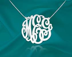 Monogram Bracelet Sterling Silver Monogram Necklace Etsy