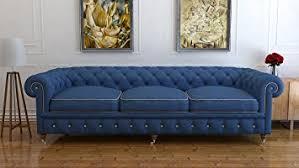 3 seater blue wool chesterfield sofa uk handmade chesterfields