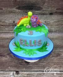 boys blue and green dino dinosaur birthday cake by sams sweet