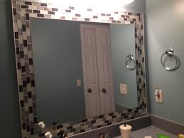 Mirrors Bathroom Glass Tiles Around Mirror Jazzes Up Any Bathroom So Easy Home