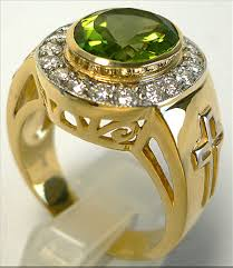 mens ring yellow gold christian peridot ring