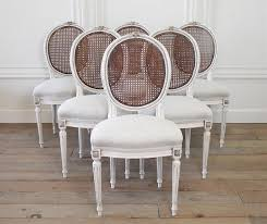 set of six 19th century french louis xvi cane back dining chairs