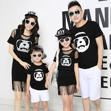 panda family clothing and matching fringe dress