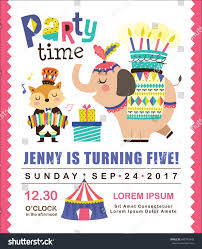 kids birthday party invitation card circus stock vector 640763443