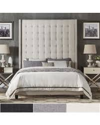 High Headboard Bed Bargains On Marion Nailhead Wingback Tufted 84 Inch High Headboard