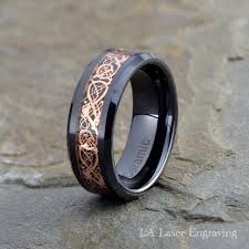 ceramic gold rings images Ceramic wedding band rose gold plated dragon inlay 8mm lalaser jpg