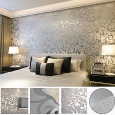 Diy Victorian Bedroom Ideas Victorian Damask 3d Feature Wallpaper Roll Silver And Grey Uk