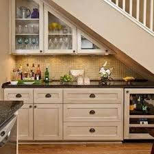 Below Stairs Design Stair Design With Mini Bar With Glass Open Shelves Under Stair