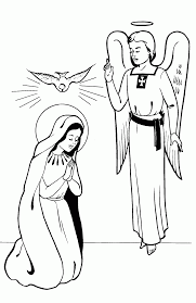 mary and the angel coloring page with eson me
