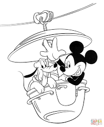 mickey with pluto coloring page free printable coloring pages