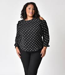 blouse plus size retro style plus size black white polka dot cold shoulder blouse