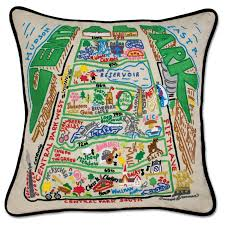 central park embroidered pillow