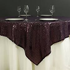 eggplant colored table linens amazon com balsacircle 72x72 inch eggplant purple sequined table
