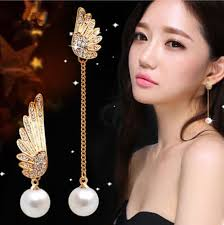 one earring new design asymmetric angel wings rhinestone drop earring one