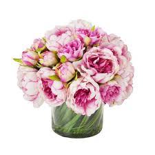 Flowers Glass Vase Faux Pink U0026 White Assorted Flowers In Glass Vase U0026 Reviews Joss
