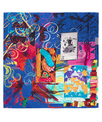 christian lacroix blue calligraphy print silk scarf in blue lyst