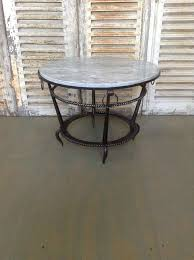 french 1940s wrought iron coffee table with grey marble for sale