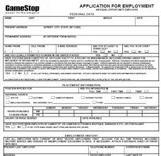 Gamestop Resume Gamestop Job Application Form Application For Employment Personal