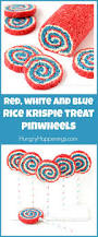 red white and blue rice krispie treat pinwheels