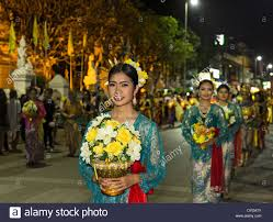 Festival Of Lights Thailand Women In Traditional Costume Parade Loi Krathong Festival Of