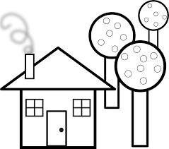 house with trees black white line art coloring book colouring