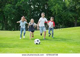 Kids Playing Backyard Football Cute Happy Multiethnic Kids Playing Soccer Stock Photo 676519738